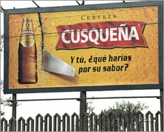 Beer ad from Peru