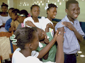 Vaccination of kids in Haiti