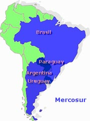map of MERCOSUR countries